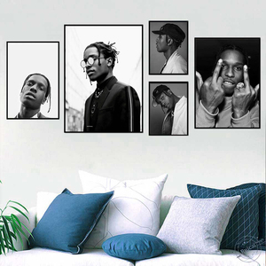 Canvas painting ASAP Rocky Print Poster Rapper Poster Music Star Hip Hop Rapper Print Wall Pictures For Living Room Home Decor