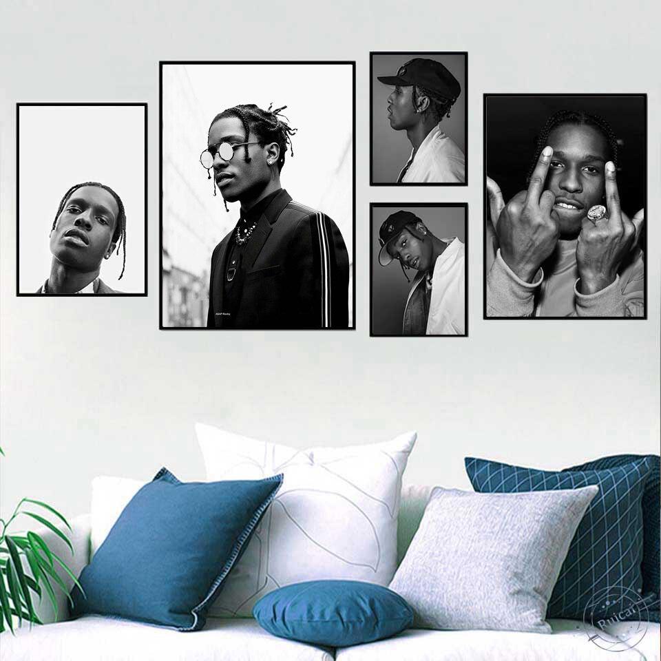 Tuval boyama ASAP kayalık baskı posteri rapçi Poster müzik yıldız Hip Hop rapçi baskı duvar resimleri için oturma odası ev dekor