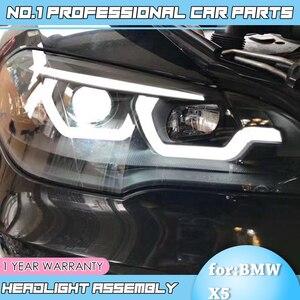Image 4 - car accessories for BMW X5 e70 2007 2013 Headlight for BMW X5 Head Lamp Auto LED DRL Double Beam H7 HID Xenon bi xenon lens