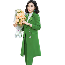 Female Elegant Formal Office Work Wear OL High Quality Women Pant Suit Long Blazer And Pant Suit Green Red Black 2 Pieces Set adogirl work ol suit female sleeveless top and pant suit set female coat v neck sexy chic suit women office set 2 pieces outfits