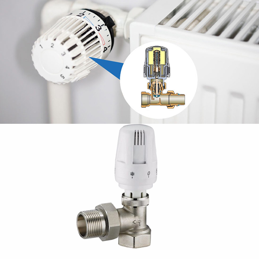 Brass Thermostatic Radiator Valve Straight Type DN15 Automatic Floor Heating Control Valve