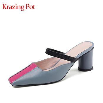 Krazing pot full grain leather simple style high heels square toe slip on mules mixed colors fashion summer brand sandals L5f1
