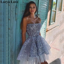 Cocktail-Dresses Prom-Gowns Short Sequined Graduation Party Formal Gray Vestido-De-Gala