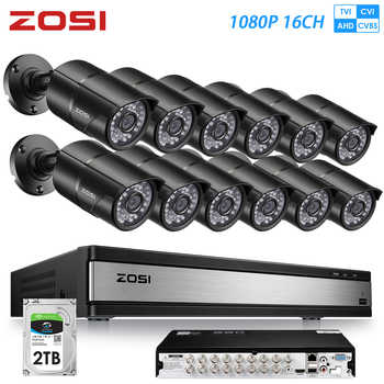 ZOSI 16CH 1080P 2MP Waterproof Indoor/Outdoor Remote View Video Surveillance Security System with 12 PCS Bullet Camera DVR Kit - DISCOUNT ITEM  25 OFF Security & Protection