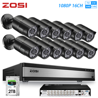 ZOSI 16CH 1080P 2MP Waterproof Indoor/Outdoor Remote View Video Surveillance Security System with 12 PCS Bullet Camera DVR Kit