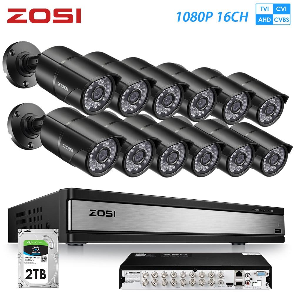 ZOSI 2MP 16CH 1080 P À Prova D' Água Interior/Visualização Remota Ao Ar Livre Sistema de Segurança De Vigilância Por Vídeo com 12 PCS Câmera Da Bala kit DVR