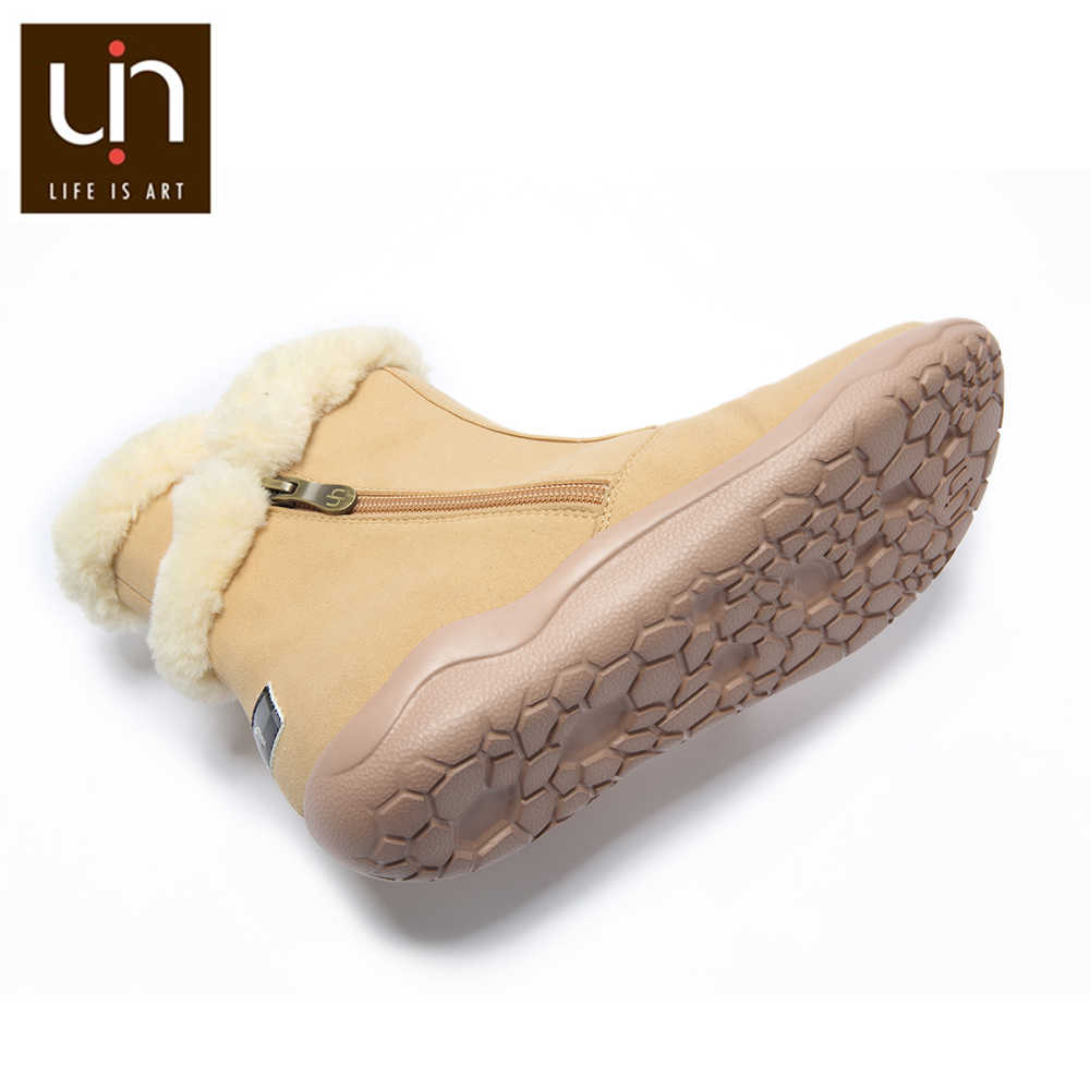 UIN Hakkar serisi sıcak sonbahar/kış botları kadın kürk moda botlar siyah/haki renk bayanlar rahat düz ayakkabı hafif
