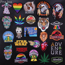 Prajna Groot Stranger Things Patch Rock Metal Patch Skull Iron On Embroidered Patches For Clothes Stripes Gremlins Applique DIY prajna van gogh patch military biker patch punk applique iron on embroidered patches for clothes stripes stickers on clothes diy