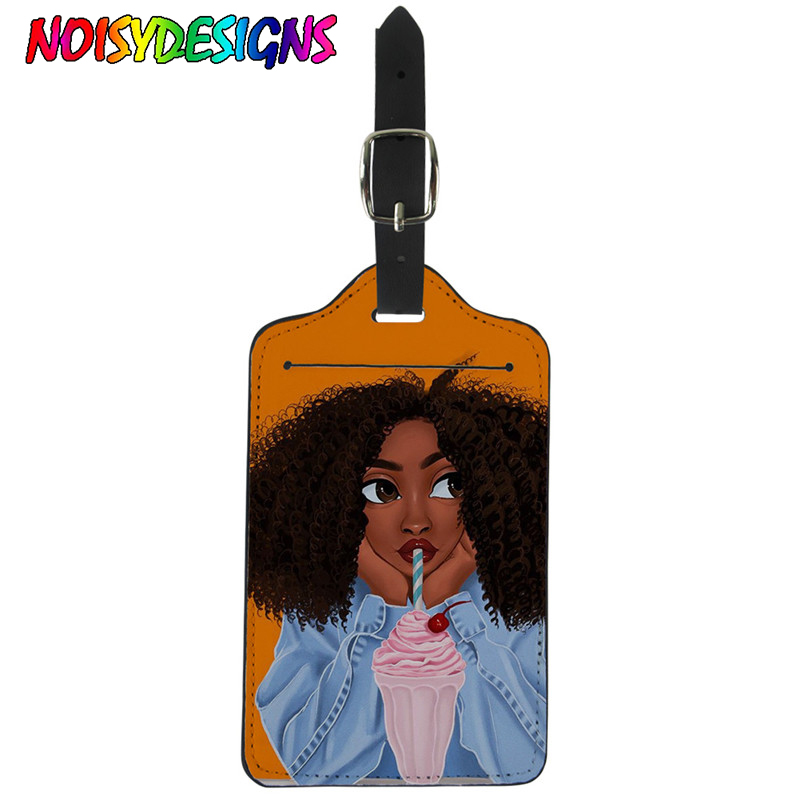 NOISYDESIGNS African American Black Art Girls Suitcase Luggage Tag Label Bag Portable Travel Accessories Name ID Address Tags