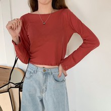 5 Colors Sun Protection T-Shirt Women Solid Color Long Sleeve Pullover Casual Round Neck Hollow Out Knitted Tunic Fashion stylish round neck long sleeve ripped hollow out women s t shirt