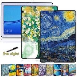 Coque arrière pour Huawei MediaPad T5 10 10.1 pouces/MediaPad T3 8.0/T3 10 9.6 pouces-peinture Anti-chute série étui rigide pour tablette + stylo