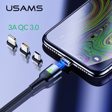 USAMS Magnetic Cable Micro usb Type C 3A Fast charging cable for iPhone Charger microusb Magnet USB Samsung