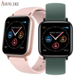 Q10 inteligentny zegarek mężczyźni kobiety wodoodporny pulsometr ciśnienie krwi Tracker pełny ekran dotykowy Smartwatch Pk P70 P80 Iwo 8