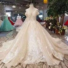 LSS255 מבריק תחרה חתונה שמלות נשים שרוולים מיוחדים גדול עגול צוואר מותאם אישית נוצץ שמפניה платье с кружевом