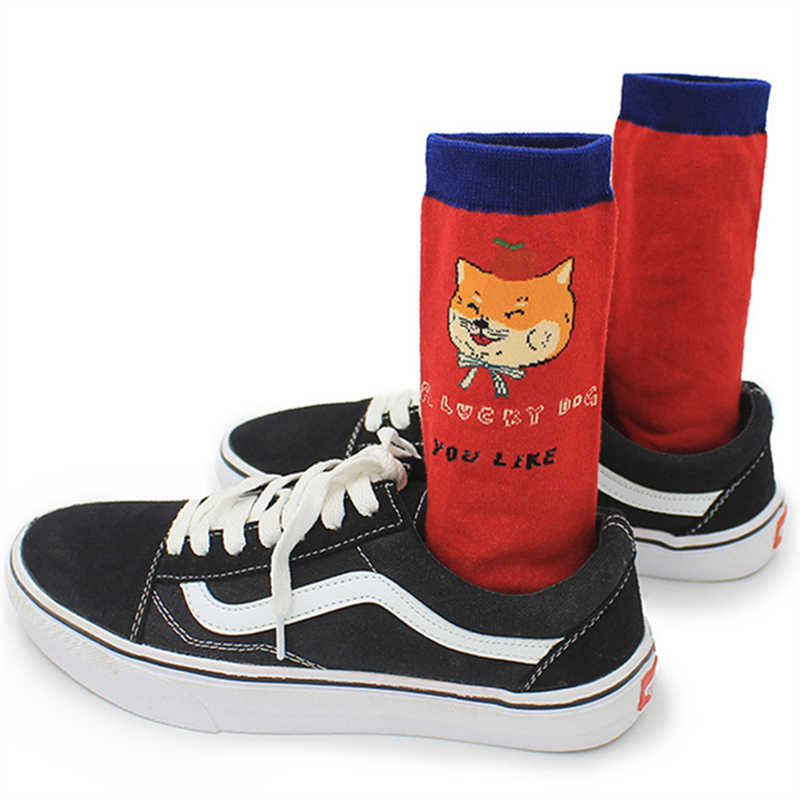 Erkekler pamuk komik bahar sonbahar kış hipster mürettebat çorap karikatür hayvan meyve köpek desenli yenilik noel hediyesi çorap dropship