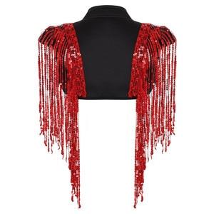Image 5 - Fashion Womens Open Voor Sparkle Lange Sequin Kwasten Korte Cropped Vest Nachtclub Vest Hip Hop Dance Wear Cover Up wrap