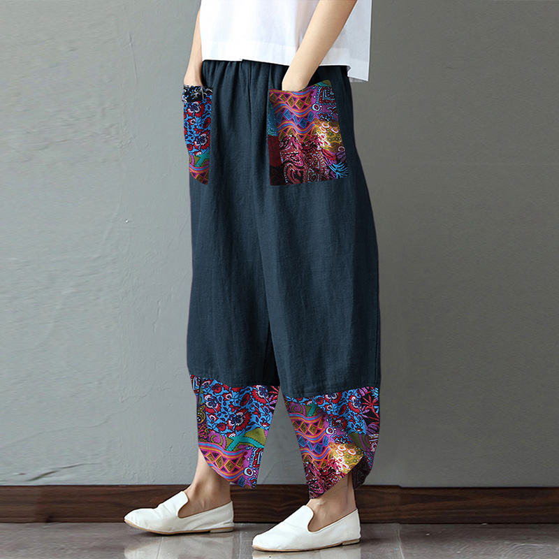 ZANZEA Women Harem Pants Vintage Floral Printed Trousers Summer Elastic Waist Wide Leg Pants Casual Loose Patchwork Pantalon