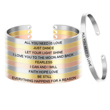 Bangle Bracelet Cuff Customized Jewelry Engraved-Women for Sister-Friends SL-060 Hope