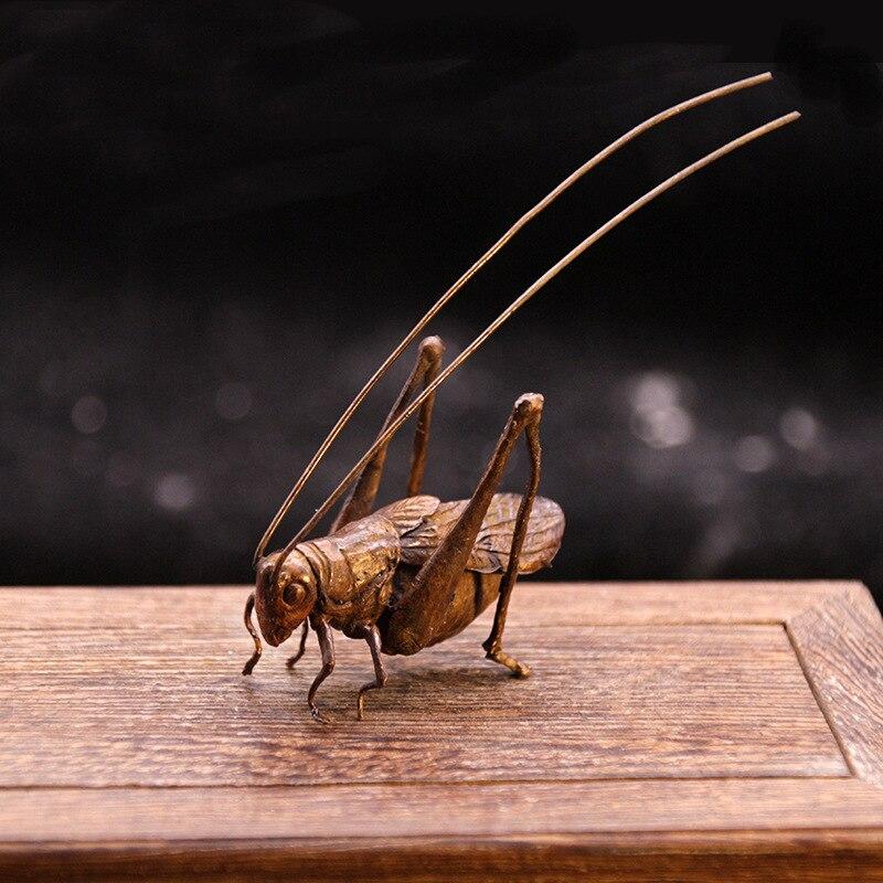 Retro Pure Copper Tea Pet Creative Simulation Grasshopper Locust Ornaments Pen Holder Accessories Home Decro Office