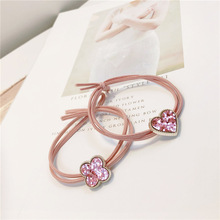 Sweet and lovely girl pink love hair rope ring headband band Korean accessories kids headwear