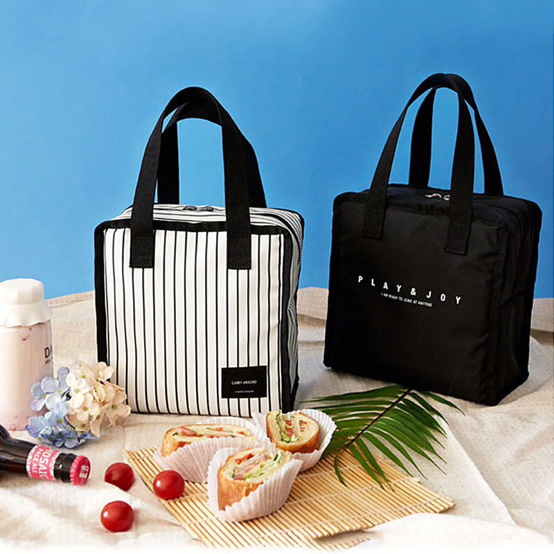 Black Thermal Lunch Bag Portable Cooler Insulated Picnic Bento Tote Travel Fruit Drink Food Fresh Organizer Accessories Supplies