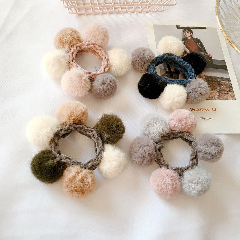Winter Plush Ball Elastic Hair Rope Bands Korean Women Hair Ties Ponytail Holder Hair Barrettes Clip For Girls Hair Accessories
