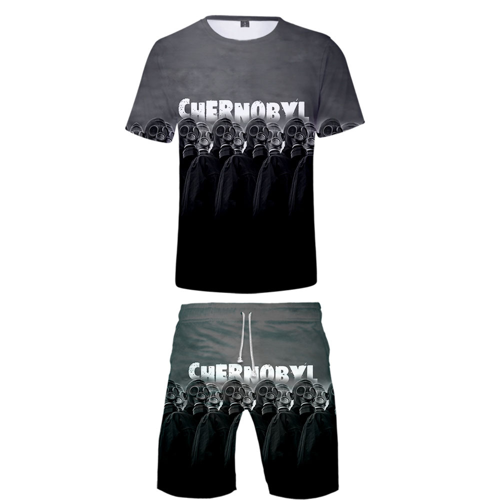 Cross Border Amazon Hot Sales Chernobyl 3D Short T-shirt Short Pants Suit