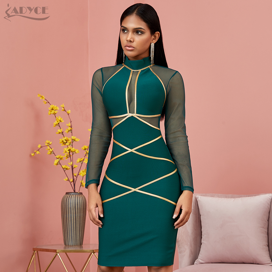 Image 2 - Adyce 2020 New Spring Long Sleeve Green Lace  Bandage Dress Women  Sexy Hollow Out Club Mini Celebrity Evening Runway Party DressDresses