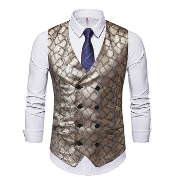 Brand Wedding Waistcoat Men Slim Nightclub Style Glossy Suit Vest Stage Costumes Gilet Africa Clothing Double Breasted Chaleco