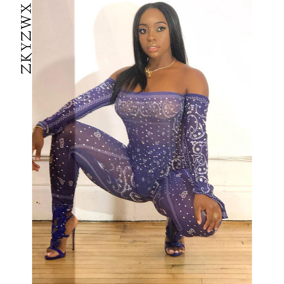ZKYZWX Print Mesh Sheer Bodycon Rompers Womens Jumpsuit <font><b>Festival</b></font> Clothing <font><b>Sexy</b></font> Club One Piece Off Shouldr Long Sleeve Jumpsuit image