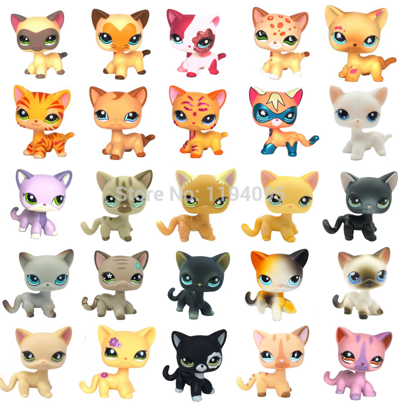 rare pet shop lps toys standing little short hair cat pink #2291 grey #5 black #994 old original pet toys kitten free shipping