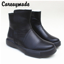 Careaymade-leather pure wool boots sheepskin fur warm big cotton boots, snowfield short thick sole cowhide womens