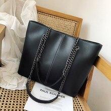 Bolsas grandes de diseñador para mujer, bolso de compras con cadena de gran capacidad, bandolera de cuero negro, informal, 2020