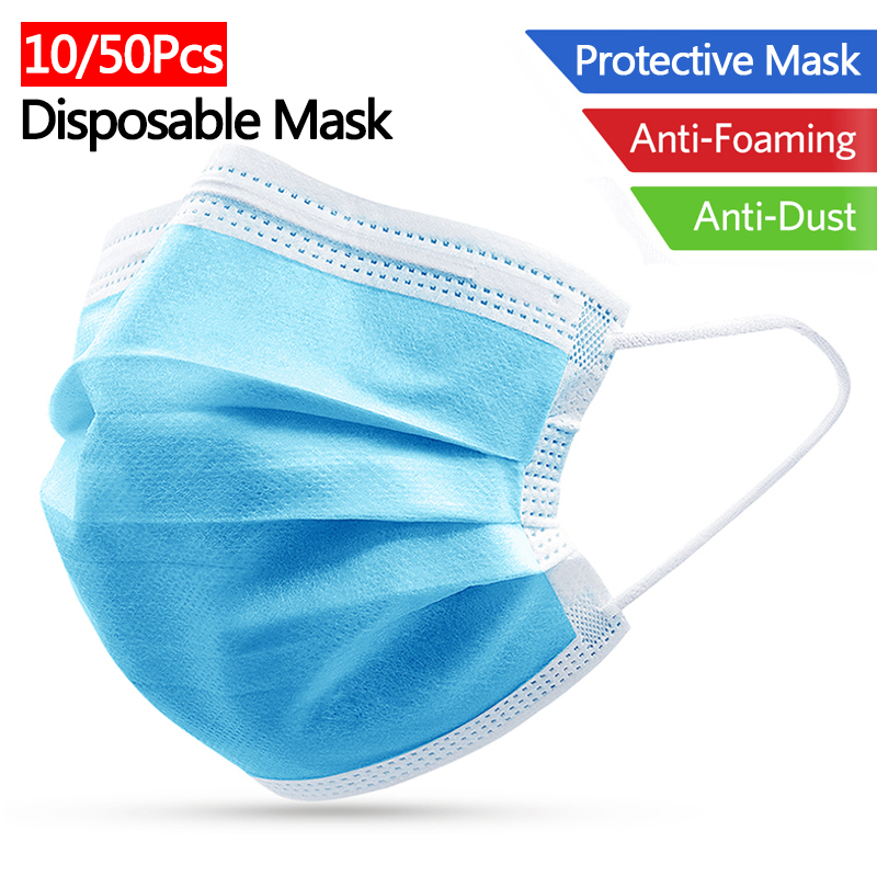 10/50Pcs Disposable Mask 3 Layers Non-Woven Anti Dust Influenza Dustproof Face Mouth Mask Cover Against Droplet Protective Masks