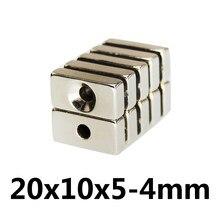 5/20/50pcs 20x10x5-4mm Powerful Block Magnetic Countersunk Hole 4mm Permanent Magnet 20x10x5-4mm Super Neodymium Magnets