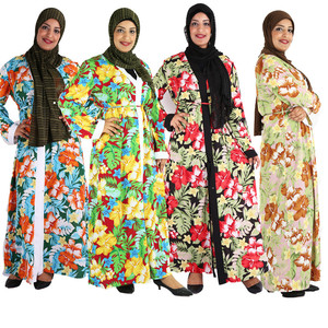 Print Floral Abaya Kimono Kaftan Hijab Muslim Dress Ramadan Eid Dubai Turkey Islamic Clothing Open Abayas for Women Islam Caftan