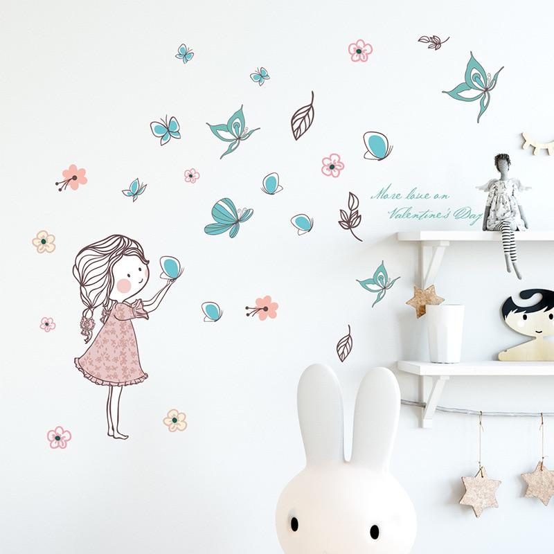 Flying Butterfly Girl Wall Stickers Bedroom Girls Room Home Decoration Art Mural Cartoon Stickers Children's Room Wallpaper