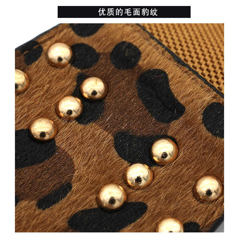 Chaqueta con estampado de leopardo vestido de suéter decorativo para mujer cinturón de remache faja ancha elástica joker de moda
