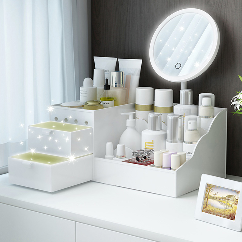 LED Mirror Makeup Organizer Bathroom Large Capacity Drawer Makeup Storage Box Skin Care Dressing Table Girl Cosmetic Beauty Case