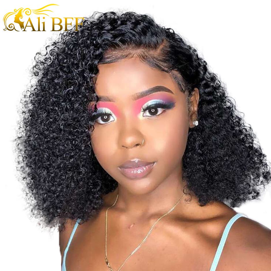 ALI BFF Bob Lace Front Human Hair Wigs Brazilian Kinky Curly Human Hair Wig For Women Full End 150 180 Density Remy Lace Wig