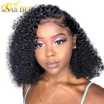 Kinky kıvırcık Bob dantel ön İnsan saçı peruk s brezilyalı Kinky kıvırcık insan saçı İnsan saçı peruk için Women150 180 yoğunluk perruque cheveux humain