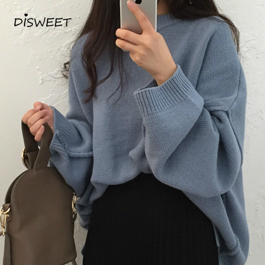 DISWEET 2019 Harajuku Solid Color Sweaters Vintage Loose Knitted Tops Womens Fashion Oversized Pullovers 2 Colors Clothing