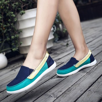 Primavera otoño en lona zapatos planos antideslizantes para mujeres comodidad suave verano...