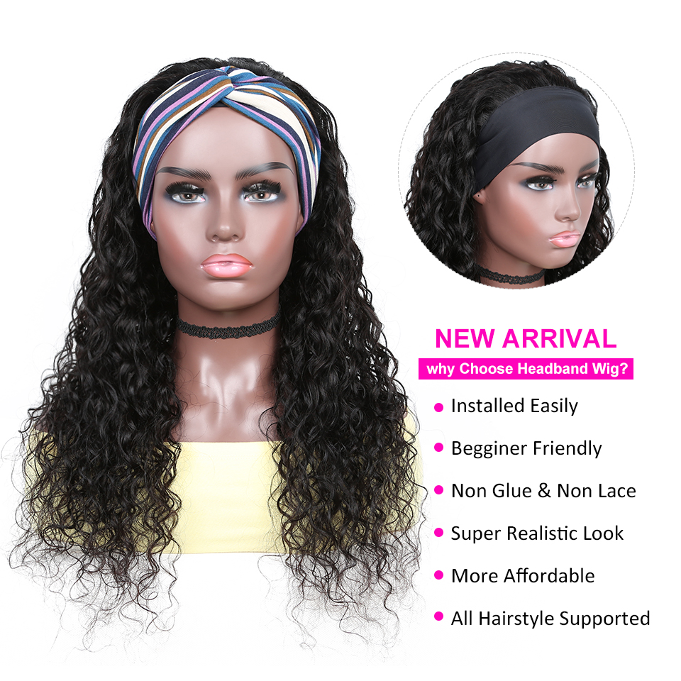 New Release YYong Water Wave Headband  Wigs With Scarf  Hair Headband Wig Glueless Wig 8-24inch Can Be Colored 3