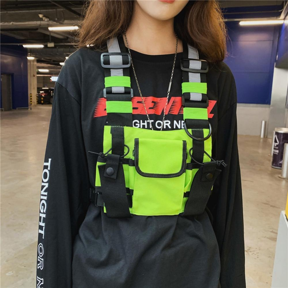 Men Women Fashion Chest Rig Bag Reflective Vest Hip Hop Streetwear Functional Harness Chest Bag Pack Front Waist Pouch Backpack|Climbing Bags| |  - title=