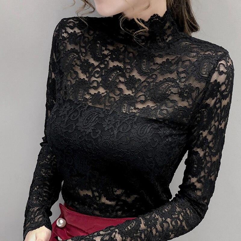 Купить осенняя водолазка с кружевным вырезом облегающая женская рубашка