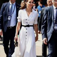 Women Dress Button Designer White Dress Elegant Turn Down Collar Short Sleeve Dresses A1118