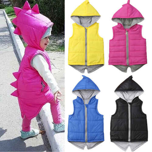 4 Colors Infant Kids Baby Girl Boy Dinosaur Vest Down Hooded Zipper Jacket Waistcoat Coat Winter Thick Warm Outwear Outfits 0-5T