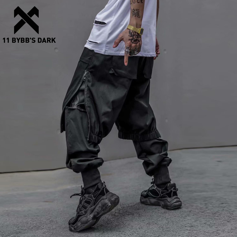 11 BYBB'S DARK Streetwear Fake Two Pieces Cargo Pants Men 2020 Harajuku Zipper Casual Joggers Trouser Men Hip Hop Pants Techwear