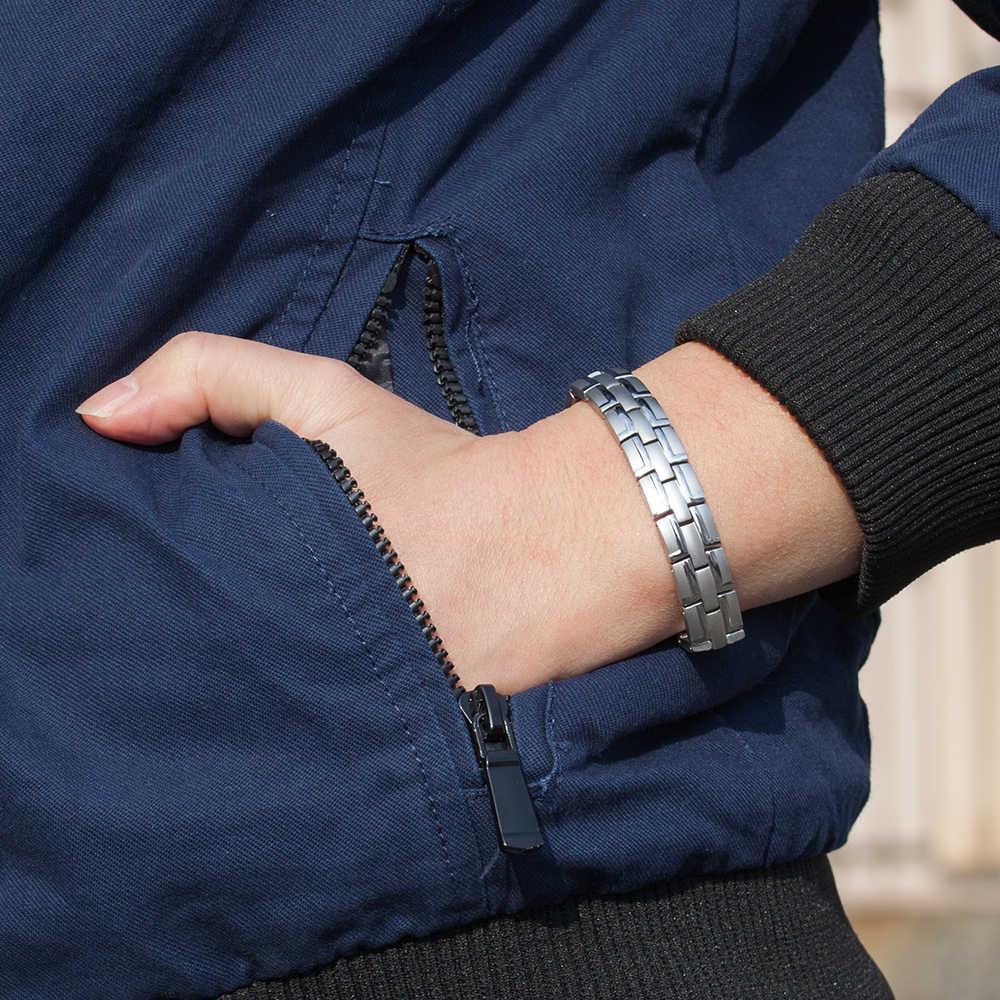 健康磁気ブレスレット男性ステンレス鋼のリストバンド磁気ブレスレット男性の手のチェーンエネルギーゲルマニウムブレスレット男性のための